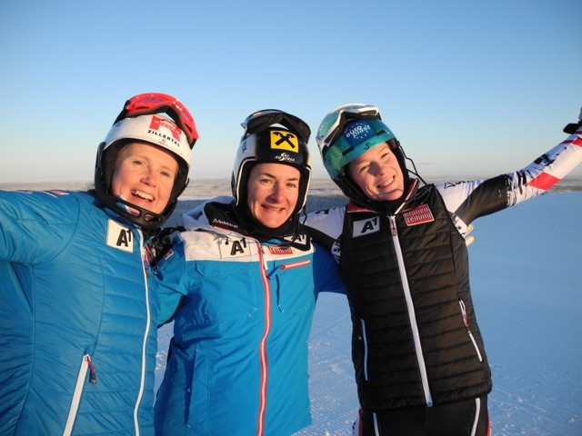 Alexandra Daum, Kathrin Zettel und Carmen Thalmann - Renneinsatz mit den Weltcup Technik Damen